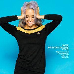 Star Trek sheer shoulder sweater top Gold NEW NIP